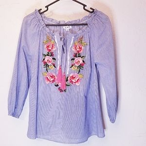 THML Embroidered rose striped peasant blouse